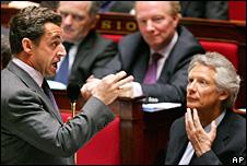 French Prime Minister Nicolas Sarkozy and Dominique de Villepin (right)