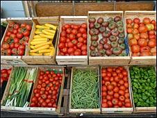 Verduras en exhibición