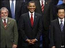 Lula Da Silva, presidente de Brasil; Barack Obama, presidente de EE.UU., y Hu Jintao, presidente de China