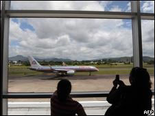 Avión en el aeropuerto de Tegucigalpa