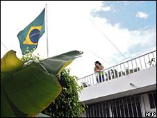 Terraza de la embajada brasileña en Tegucigalpa