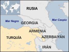 Mapa de Armenia y países vecinos