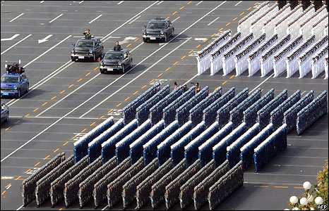 Chinese President Hu Jintao (3L car) reviews the military personnel during the National Day parade in Beijing on October 1, 2009
