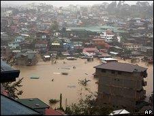 La ciudad de Baguio inundada