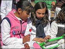 Niños uruguayos durante su recreo