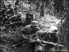Немецкие солдаты под Ленинградом, 1942 год