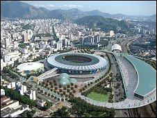 Imagen proyectada de estadios de Rio
