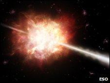 Imagen computerizada del estallido de una estrella masiva