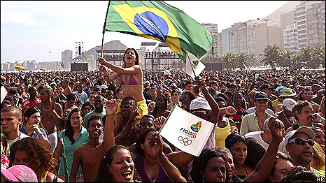 a crowd of people in the streets of rio celebrating