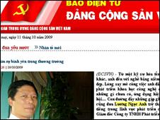 Ông Lương Ngọc Anh trong bài trên trang web của Đảng Cộng Sản