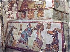 Escena del mural de Calakmul (Imagen: PNAS)