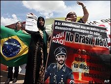 Protestas contra la visita de Mahmoud Ahmadinejad