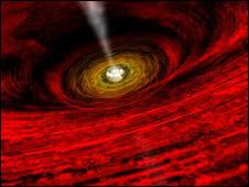 Perspectiva artística da visão de um buraco negro (April Hobart, NASA, Chandra X-Ray Observatory)