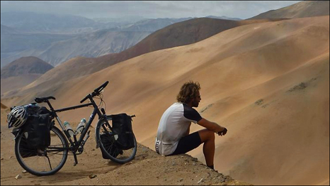 Mark Beaumont in Peru: stopping mid-way up a 15 km climb to enjoy the view