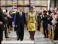 Barack Obama e Michelle Obama em Oslo