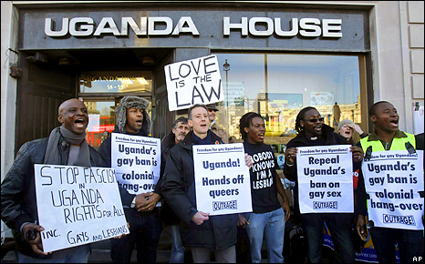 Gay rights demonstrators take part in a protest outside the Ugandan High Commission in London, December 2009