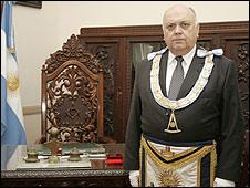 El Gran Maestre Angel Jorge Clavero. Foto gentileza: Gran Logia de la Argentina de Libres y Aceptados Masones