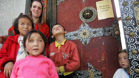 Sabriye Tenberken and blind students outside her training Centre for the Blind School in Tibet. Frederic J Brown/AFP/Getty