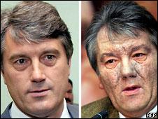 Лицо Ющенко до и после отравления