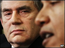 Gordon Brown (izq.) y Barack Obama en marzo de 2009