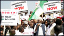 Nigeria's Wole Soyinka (C), speaks at a rally on January 12, 2010 in Abuja