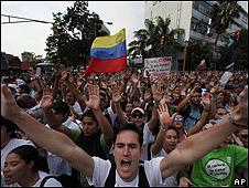Manifestación de eestudiantes en Caracas contra la suspensión de RCTVI