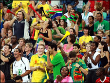 South Africa football fans at a friendly against Zimbabwe