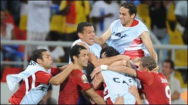 Egypt players celebrate their win