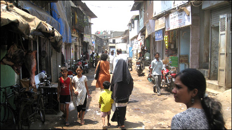 Dharavi slums in India