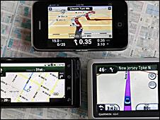 Teléfonos celulares y navegadores satelitales