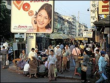 Calle de Rangún, Birmania. Archivo