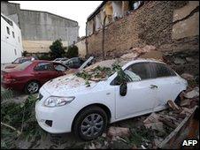 Carros destruídos em Viña del Mar