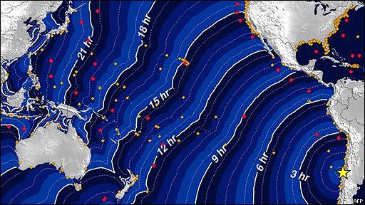Viaje del tsunami en un gráfico de la Administración Nacional Atmosférica y Oceánica.