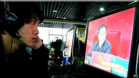 China websurfer watching Wen Jiabao during an online chat