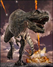 Ilustración del dinosaurio durante lluvia de meteoritos