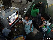 Damnificados del sismo en Santiago, Chile