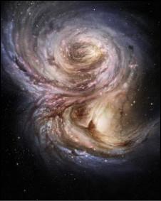 Reprodução artísticas da galáxia SMM J2135-0102 (Imagem: ESO/M. Kornmesser)