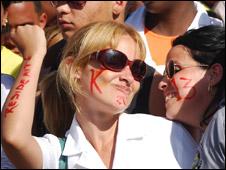 Asistente al concierto de Calle 13 en Cuba