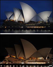 """La Ópera de Sydney durante la """"Hora del Planeta"""""""