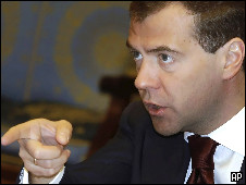 O presidente russo, Dmitri Medvedev.  Foto AP