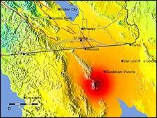 Gráfico del terremoto en Baja California. Foto: Servicio Geológico de Estados Unidos