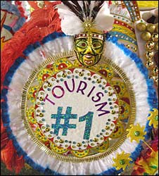 Costume from Bahamas festival depicting tourism