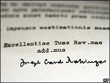 Carta supuestamente firmada por el cardenal Joseph Ratzinger en  1985