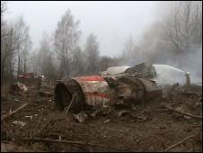 حطام الطائرة في إحدى الغابات