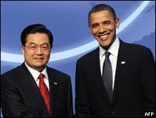 美国总统奥巴马和中国主席胡锦涛在核安全峰会上