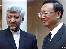 El negociador nuclear de Irán, Saeed Jalili y el canciller de  China, Yan Jiechi