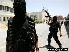 Miembros del ala militar de Hamas