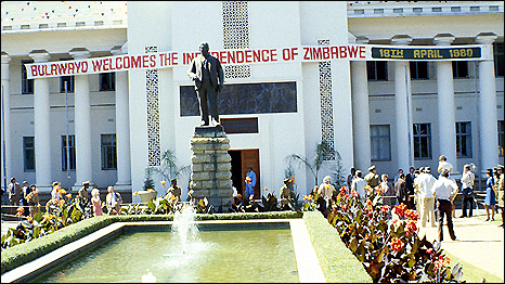 Zimbabwe Independence banner in Bulawayo, 18 April 1980