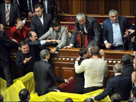 Look at the Unrest in Ukraine Parliament