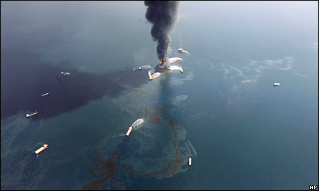 Deepwater Horizon oil rig off the coast of Louisiana burning on 21 April before it sank on 22 April 2010